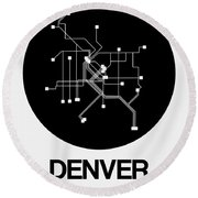 Denver Black Subway Map Round Beach Towel