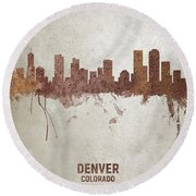 Denver Colorado Rust Skyline Round Beach Towel