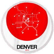 Denver Red Subway Map Round Beach Towel