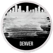 Denver Skyline Brush Stroke White Round Beach Towel