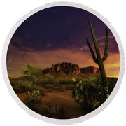 Round Beach Towel featuring the photograph Desert Beauty by Tassanee Angiolillo