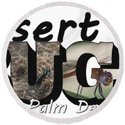 Round Beach Towel featuring the photograph Desert Bugs Big Letter by Colleen Cornelius