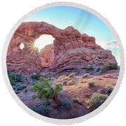 Round Beach Towel featuring the photograph Desert Sunset Arches National Park by Nathan Bush