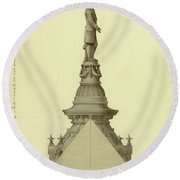 Design For City Hall Tower Round Beach Towel