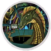 Round Beach Towel featuring the digital art Designated Smoking Section by Vincent Autenrieb