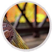 Details On A Covered Bridge Round Beach Towel