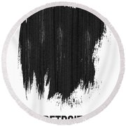 Detroit Skyline Brush Stroke Black Round Beach Towel