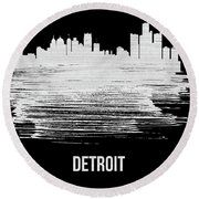 Detroit Skyline Brush Stroke White Round Beach Towel