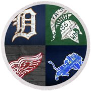 Detroit Sports License Plate Art Tigers Spartans Red Wings Lions Round Beach Towel
