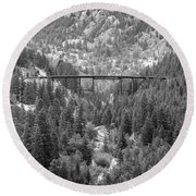 Round Beach Towel featuring the photograph Devils Gate In Black And White by Jon Burch Photography