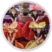 Round Beach Towel featuring the photograph Dia De Los Muertos Candy Catrinas by Tatiana Travelways
