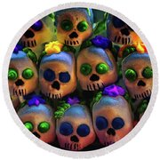 Round Beach Towel featuring the photograph Dia De Los Muertos Candy Skulls 2 by Tatiana Travelways