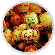 Round Beach Towel featuring the photograph Dia De Los Muertos Candy Skulls by Tatiana Travelways