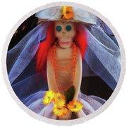 Round Beach Towel featuring the photograph Dia De Los Muertos Spooky Candy Catrina by Tatiana Travelways