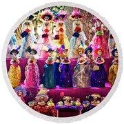 Round Beach Towel featuring the photograph Dia De Los Muertos Spooky Candy Catrinas by Tatiana Travelways