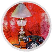 Round Beach Towel featuring the painting Dial Up Telephone by Joan Reese