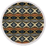 Diamond And Eye Motif With Leopard Accent Round Beach Towel