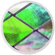 Diamond Pane Glass Green Round Beach Towel