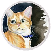Diego Ginger Tabby Cat Painting Round Beach Towel