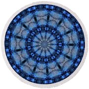 Blue Jay Mandala Round Beach Towel