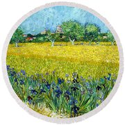 Digital Remastered Edition - View Of Arles With Irises In The Foreground Round Beach Towel