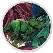 Dinosaur Triceratops Flowers Round Beach Towel