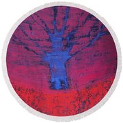 Disappearing Tree Original Painting Round Beach Towel