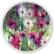 Disco Thistles Round Beach Towel
