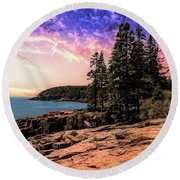 Distant View Of Otter Cliffs,acadia National Park,maine. Round Beach Towel