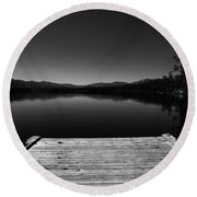 Dock At Dusk Round Beach Towel