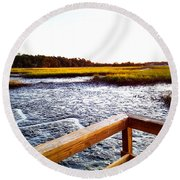 Round Beach Towel featuring the photograph Dock Point by Robert Knight