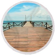 Dock To Infinity Round Beach Towel