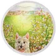 Doggie Heaven Round Beach Towel