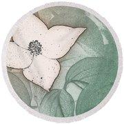 Dogwood Flower Stencil On Sandstone Round Beach Towel