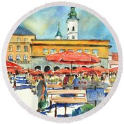 Dolce Market In Zagreb #1 Round Beach Towel