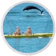 Dolphin Leaping Over Two Rowers Round Beach Towel