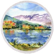 Donner Lake Fisherman Round Beach Towel