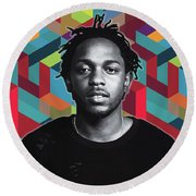 Round Beach Towel featuring the painting Don't Kill My Vibe Kendrick by Carla B
