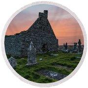 Doolin Ireland Graveyard At Sunrise Round Beach Towel