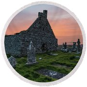 Doolin Ireland Graveyard At Sunrise Round Beach Towel