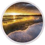 Door County Sunset Round Beach Towel