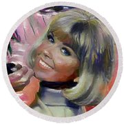 Doris Day Round Beach Towel