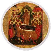 Dormition And The Elevation Of The True Cross, Russia, 19th Century Round Beach Towel