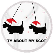 Dotty About My Scottie - Xmas Round Beach Towel