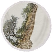 Double Exposure Giraffe Round Beach Towel
