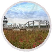 Doubling Point Lighthouse In Maine Round Beach Towel