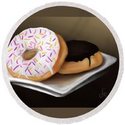 Round Beach Towel featuring the painting Doughnut Life by Fe Jones