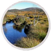 Round Beach Towel featuring the photograph Dove River by Nicholas Blackwell