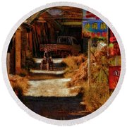 Down The Hill In China Round Beach Towel