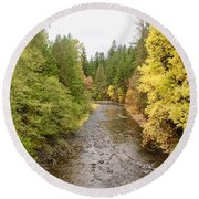 Round Beach Towel featuring the photograph Down The Molalla by Brian Eberly